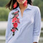 Košilová tunika s květinovou výšivkou
