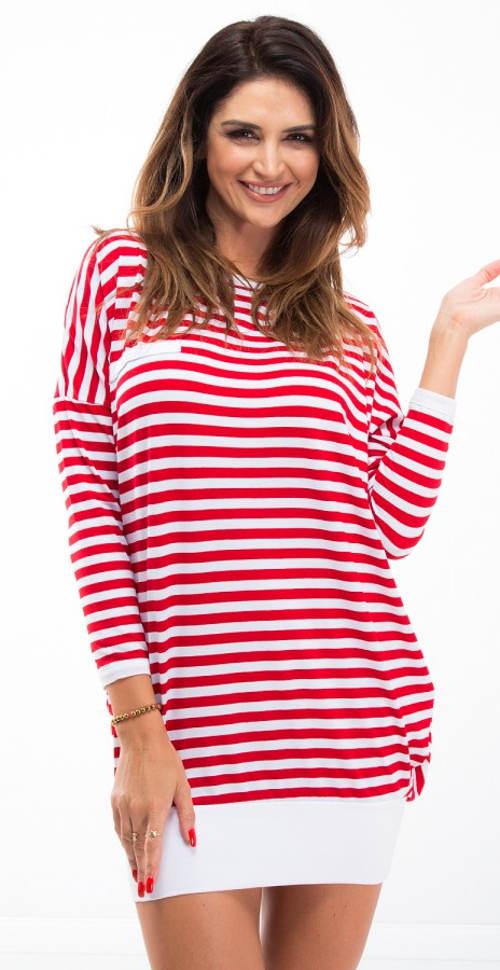 Pruhované červeno-bílé tunikové šaty