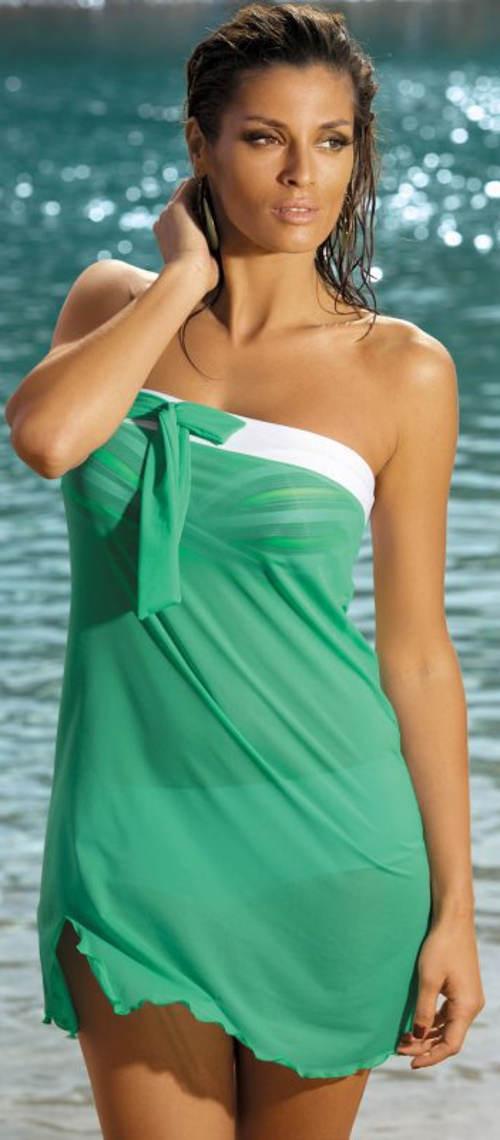 Zelená průsvitná plážová tunika Marko Mia Zacinto