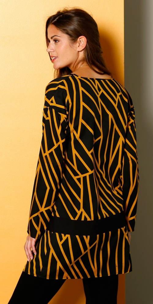 Žluto-černá volná tunika
