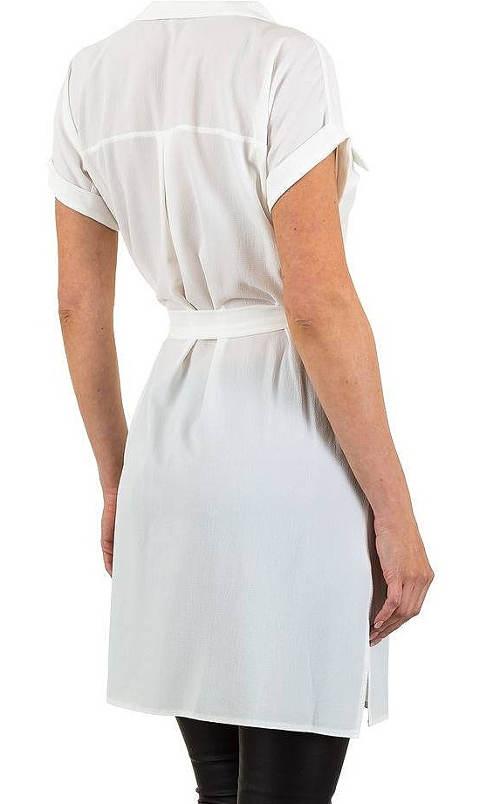 Bílá košilová tunika s páskem