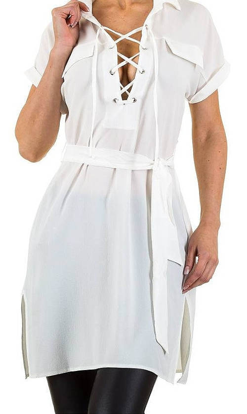 Bílá tunika se šněrovačkou pro každodení nošení