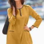 Dlouhá žlutá dámská tunika k legínám