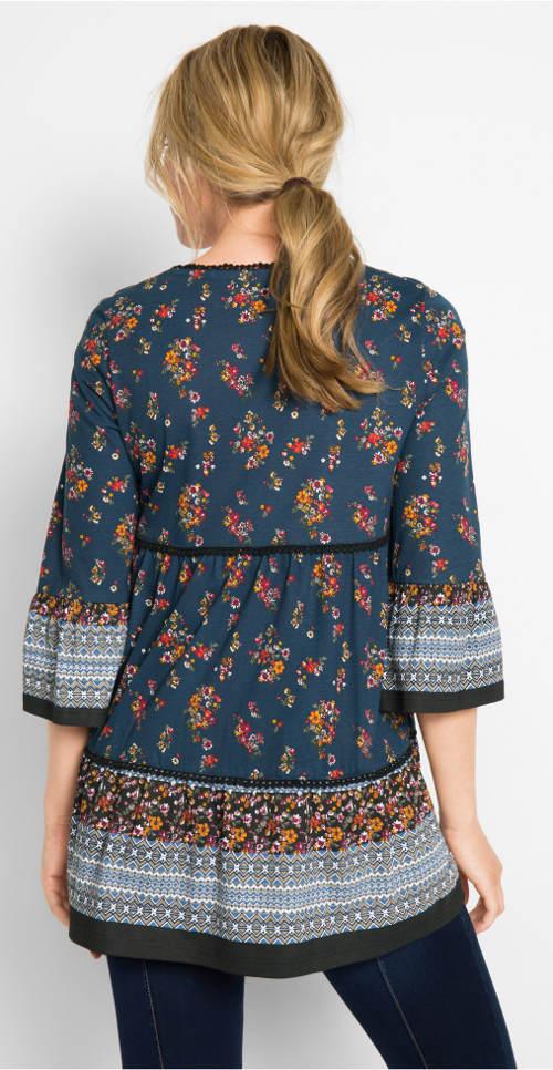 Modorá tunika s květinovým potiskem