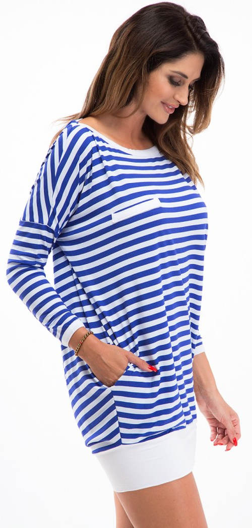Pruhovaná modro-bílá tunika s kapsami