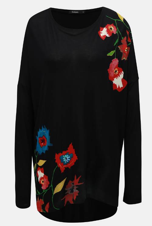 Černá tunika s potiskem květů a dlouhým rukávem Desigual