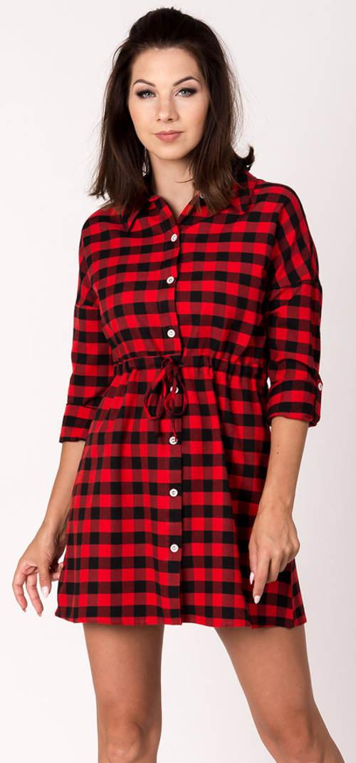 Kostkovaná červeno-černá košilová tunika