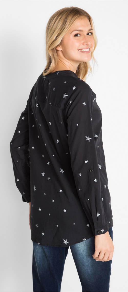 Černá dámská halenka s hvězdičkami