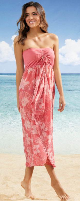 Dlouhé plážové šaty bez ramínek