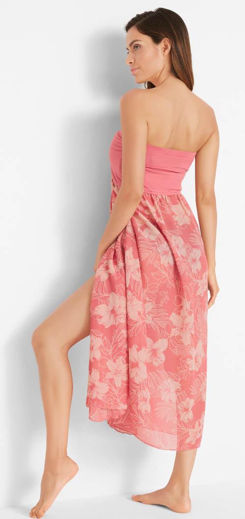Dlouhé růžové plážové šaty