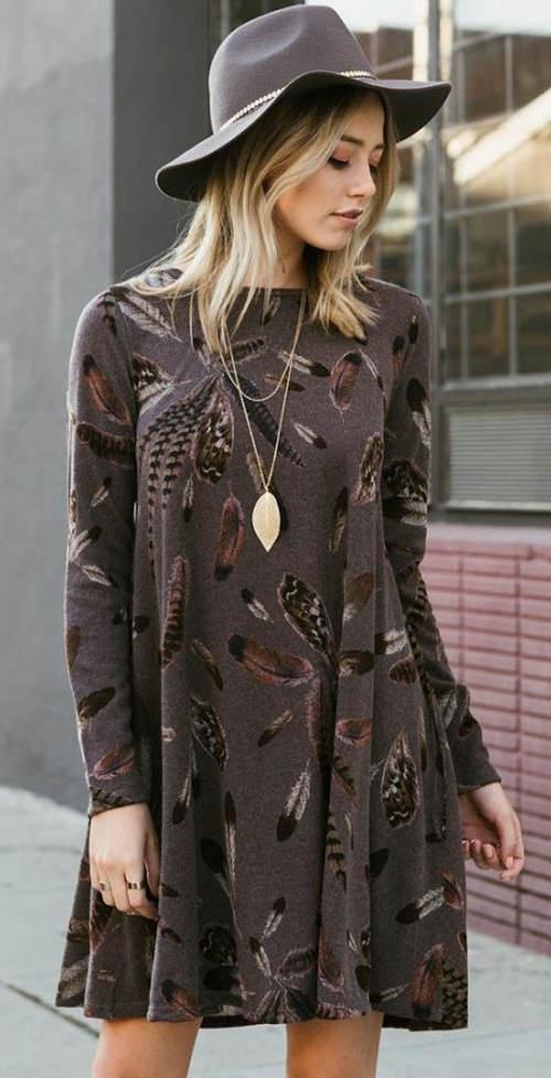 Hnědé tunikové šaty TANVI