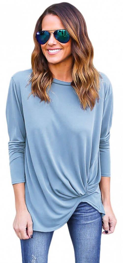 Lehký modrý tunikový svetr
