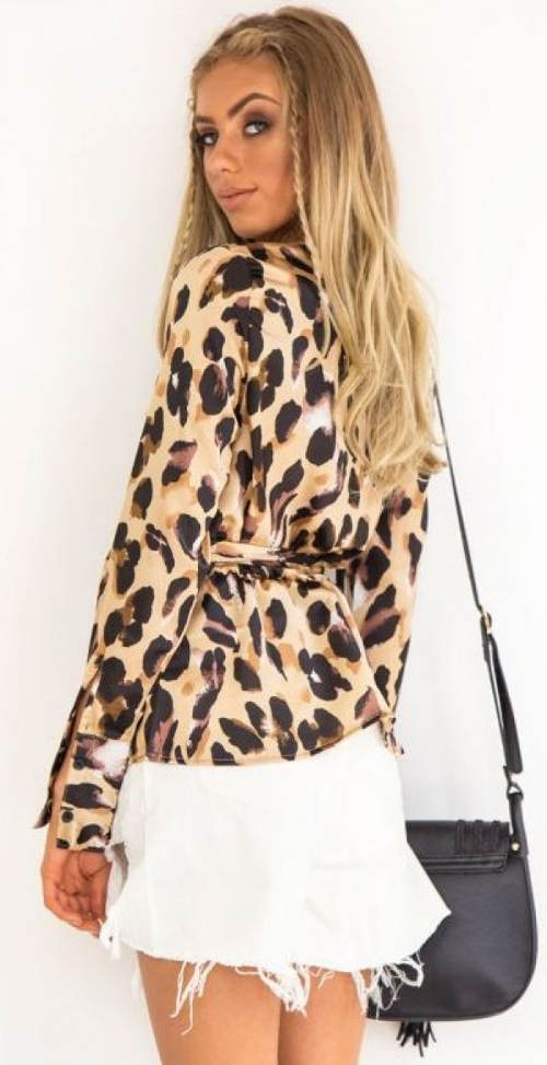Leopardí halenka s dlouhými rukávy