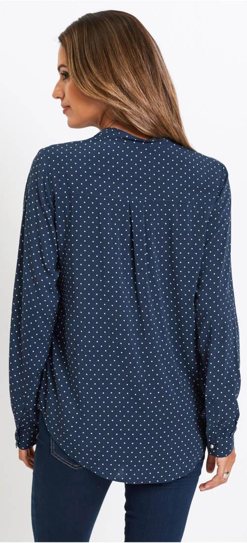 Modrá puntíkovaná košilová tunika