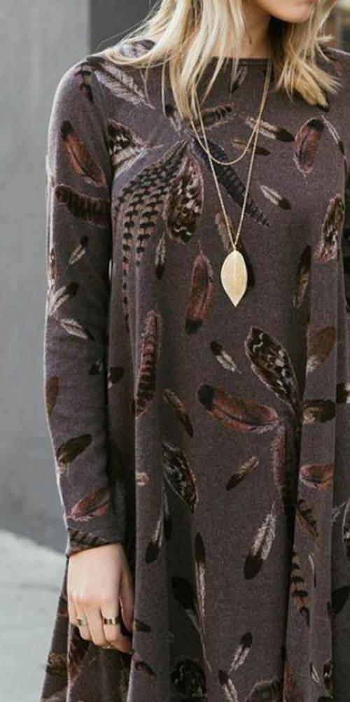 Podzimní dámské šaty s dlouhým rukávem
