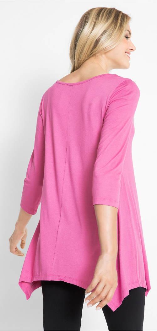 Růžová dámská tunika s cípy