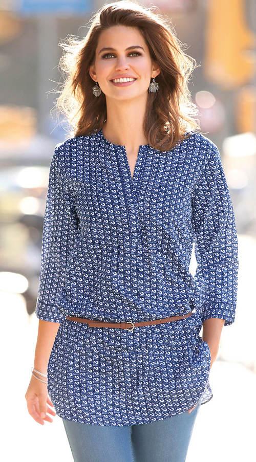 Modro-bílá dámská tunika s tenkým páskem