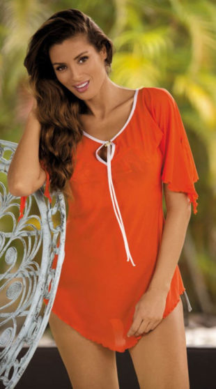 Oranžové krátké plážové šaty