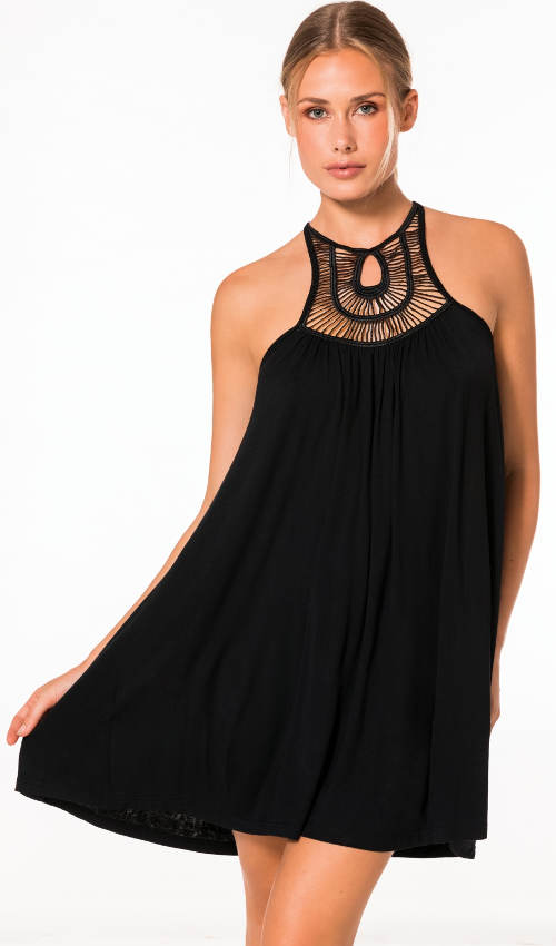 Černé letní tunikové šaty egyptského stylu