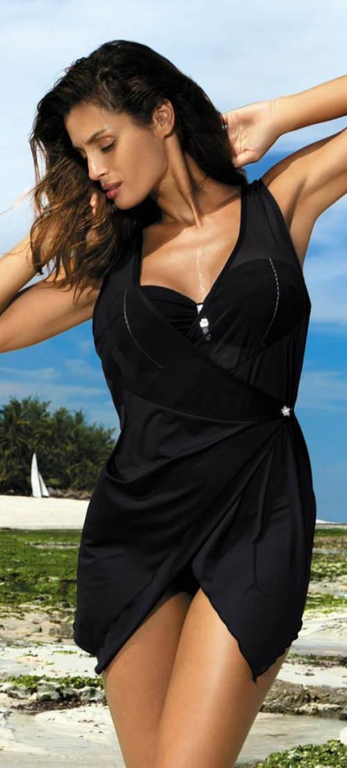 Černé zavinovací plážové šaty