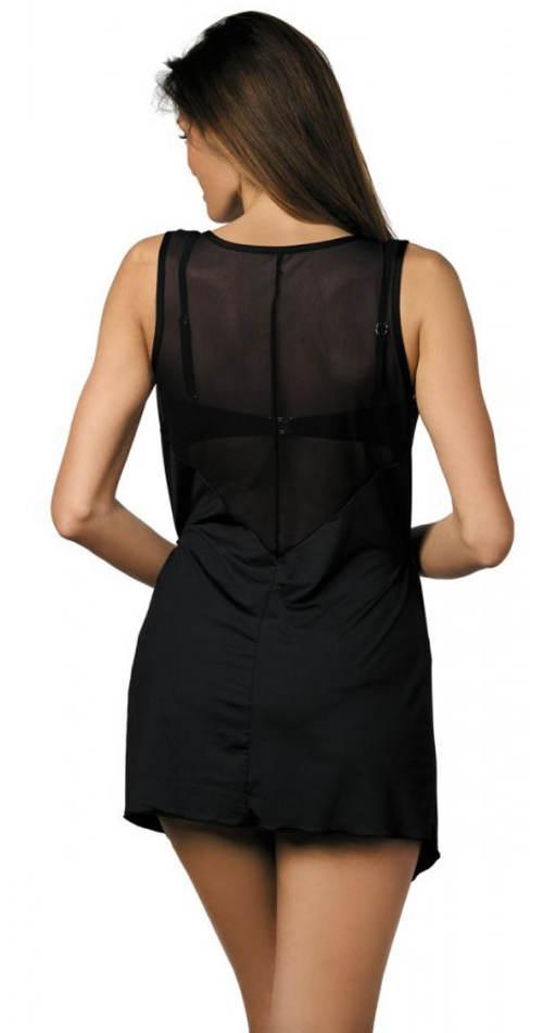 Jednobarevné černé plážové šaty