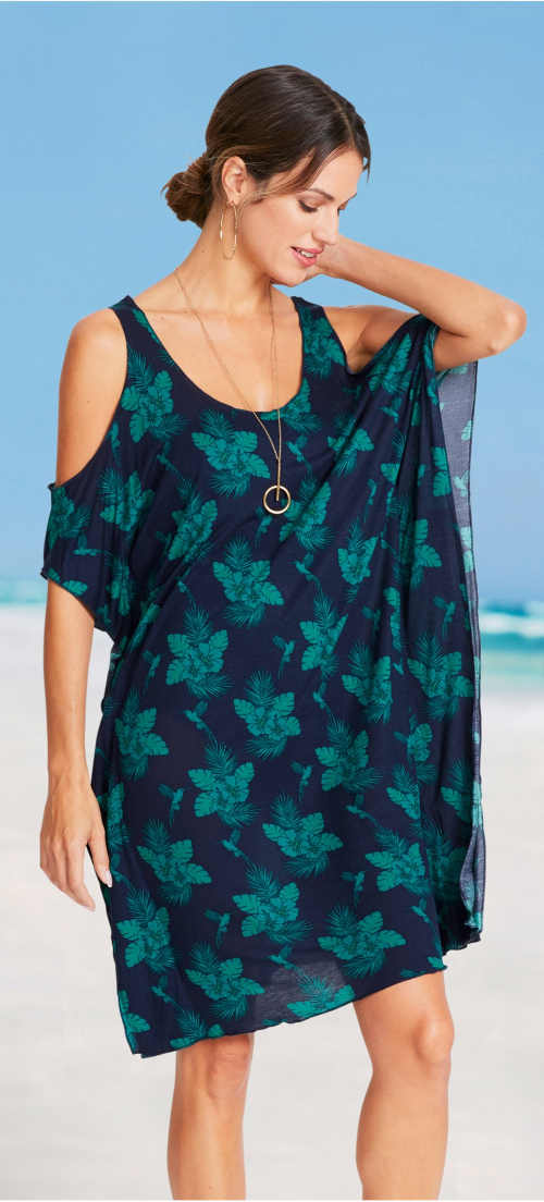 Lehké plážové šaty volného pareo střihu