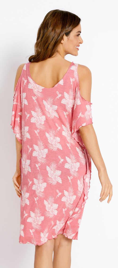 Růžové květinové plážové šaty s délkou ke kolenům