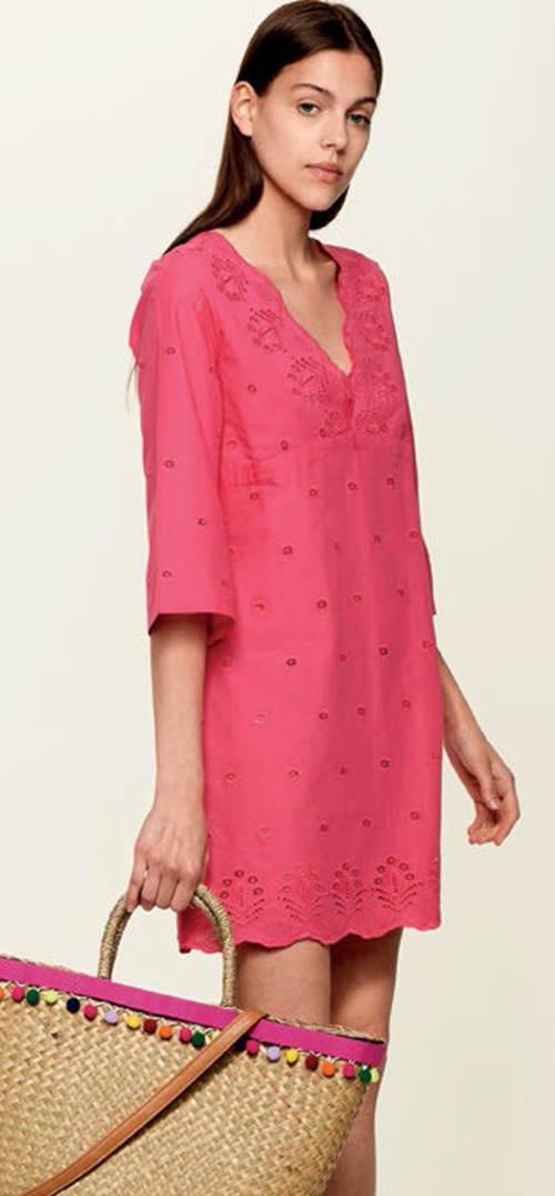 Růžové plátěné plážové šaty rovného střihu