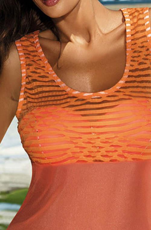 Prodloužené oranžové tílko přes plavky