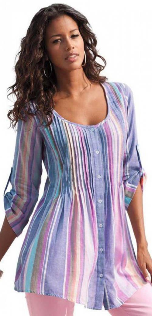 Vzdušná košilová tunika s knoflíčky