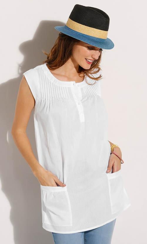 Bílá dámská tunika s velkými kapsami