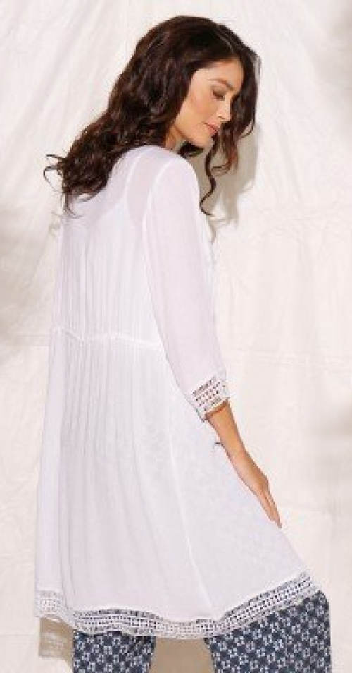 Bílá společenská krajková tunika