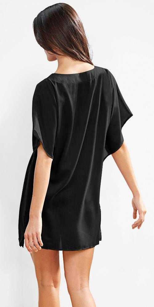 Jednobarevné černé plážové mini šaty