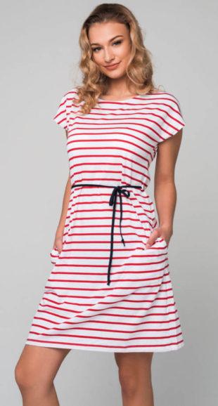 Pruhované letní šaty s krátkým rukávem