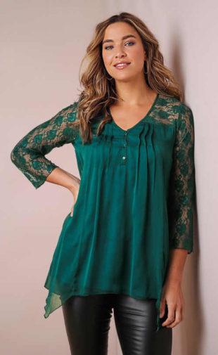 Zelená dámská tunika s 3/4 krajkovými rukávy