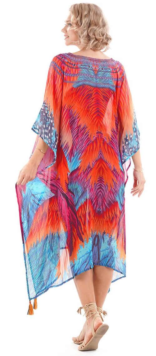 Dlouhé lehké letní šaty s pestrobarevným vzorem