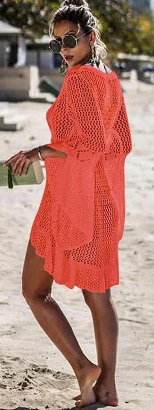 Háčkované oranžové šaty přes plavky