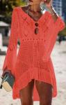 Háčkované plážové šaty s dlouhým rukávem