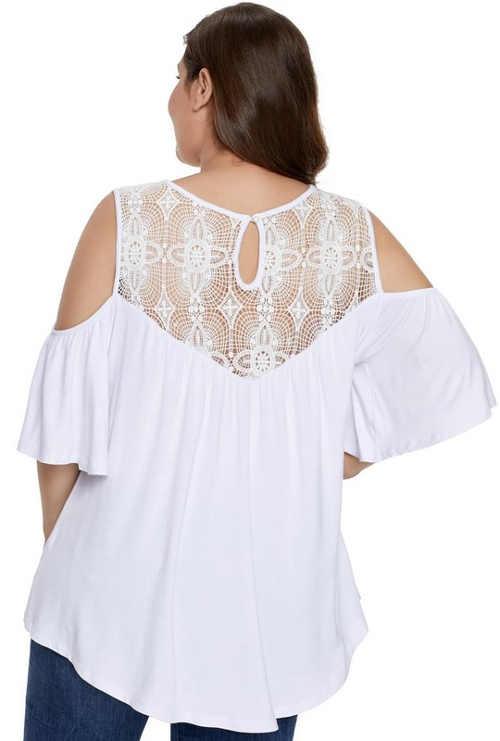Bílá halenka s krajkovými zády