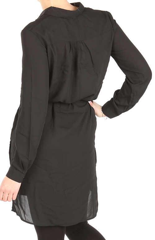 Dlouhá černá  košilová halenka se zavazováním v pase