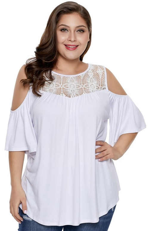 Bílý plus size top s krajkou