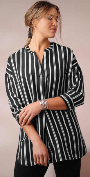 Košilová krepová tunika s pruhy