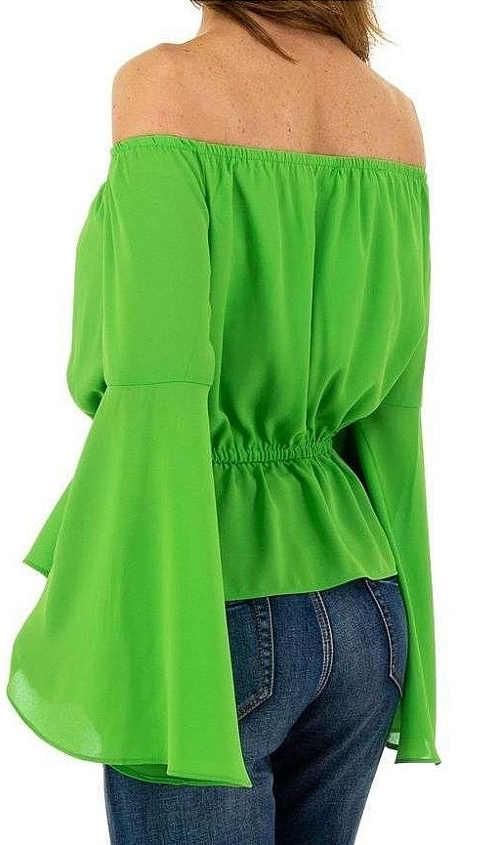 Zelená dámská halenka širokými rukávy do zvonu
