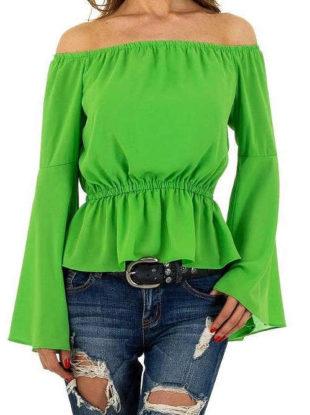 Zelená halenka se spadlými rukávy