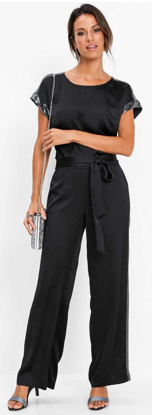 Černá společenská halenka s flitry a krátkým rukávem
