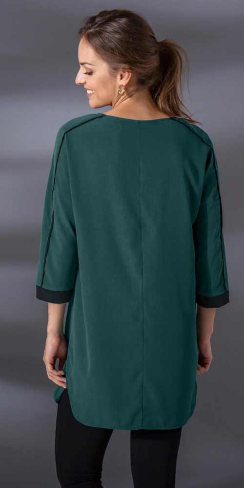 Dlouhá tmavě zelená halenka s tříčtvrtečními rukávy