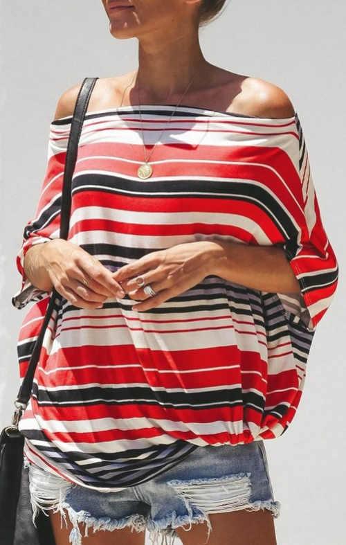 Moderní pruhované dámské tričko na léto