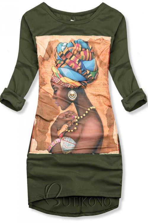 Khaki bavlněné šaty s nášivkovým potiskem