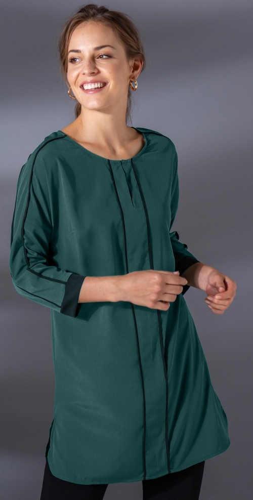 Svůdná zelená tunika s glamour rozparkem