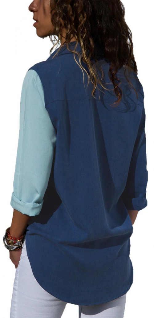 Dlouhá modrá dámská košile
